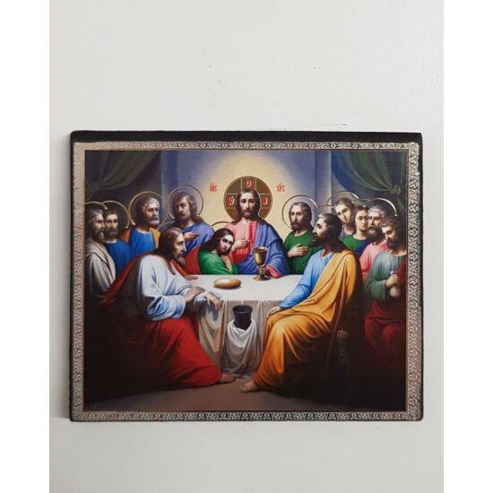 Utolsó vacsora szentkép fatáblán, 12 cm