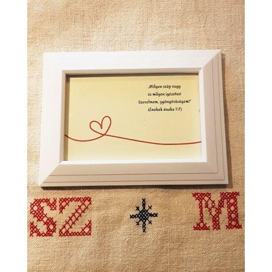 Szerelmes üzenet fehér képkeretben, öko papírra