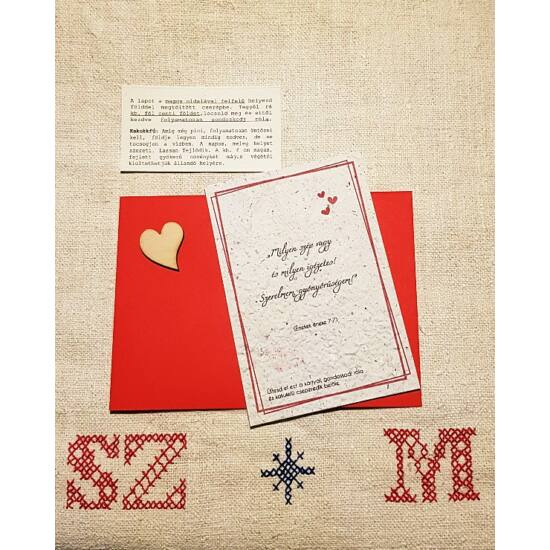 Szerelmes üzenet elültethető magpapíron, szíves, piros borítékban