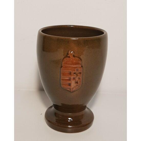 Kézműves kerámia boros pohár, Magyarország címerével