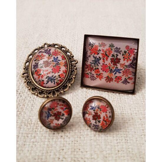 Falusi virágoskert szett - Fülbevaló, gyűrű, kitűző