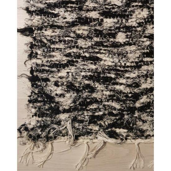 Kézzel szőtt fekete-fehér pamut szőnyeg, 104 cm