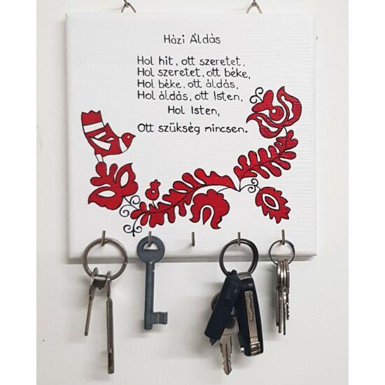 Kézműves fehér Házi Áldás fali kulcstartó - Minőségi termékdíjas