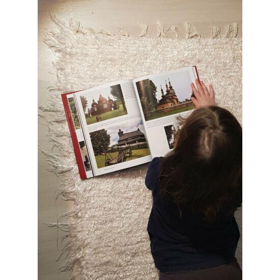 Kézzel szőtt, fehér selyem szőnyeg, 144 cm
