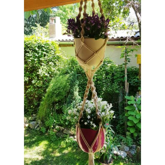 Rusztikus dupla makramé virágtartó, krémfehér pamutfonalból