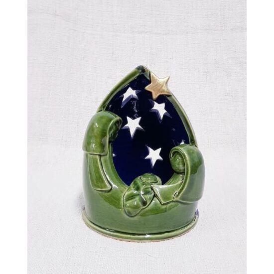Kerámia betlehem mécsestartó, zöldes kék - 13 cm