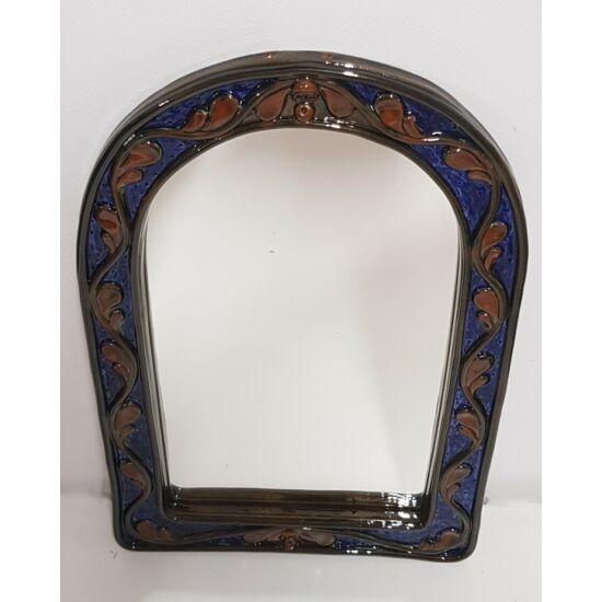 Kézműves kerámia tükör, kék-barna színben