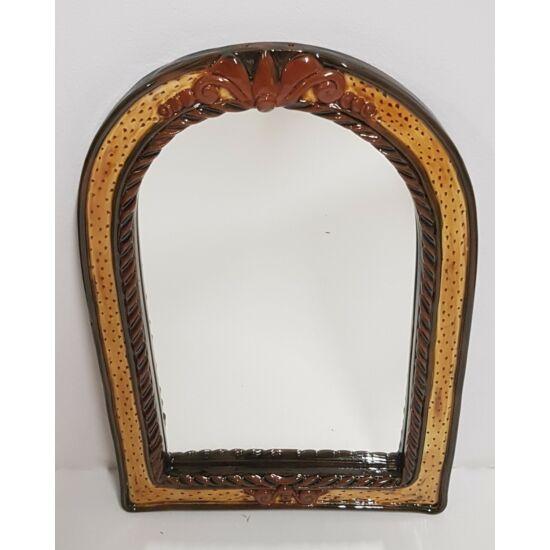 Kézműves kerámia tükör, sárga-barna színben