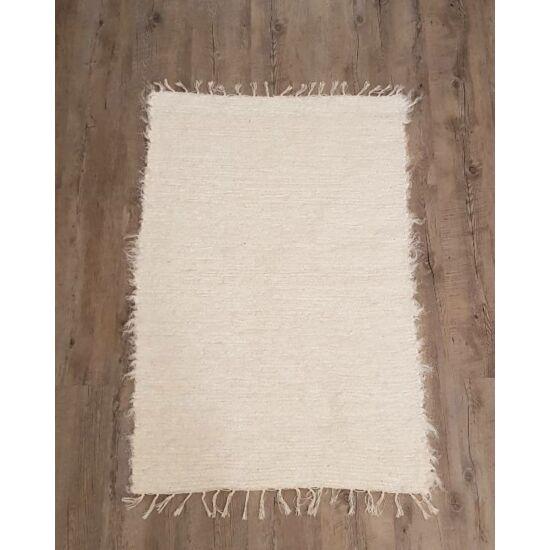 Kézzel szőtt krémfehér len szőnyeg, 116 cm