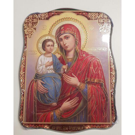 Mária és a gyermek Jézus szentkép, falikép fatáblán, bordó kerettel - 24 cm