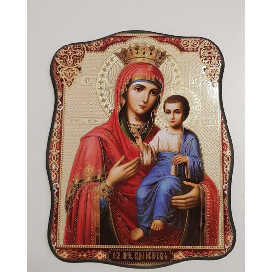 Mária és a gyermek Jézus szentkép, falikép fatáblán - 24 cm