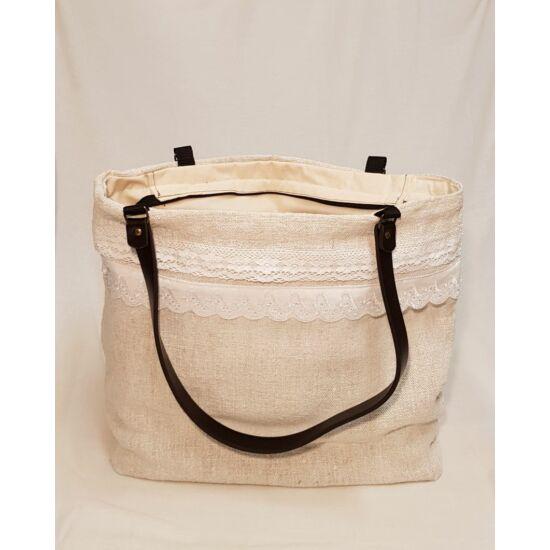 Kézműves női táska zsákvászonból, valódi bőr táskafüllel – nagy méretű