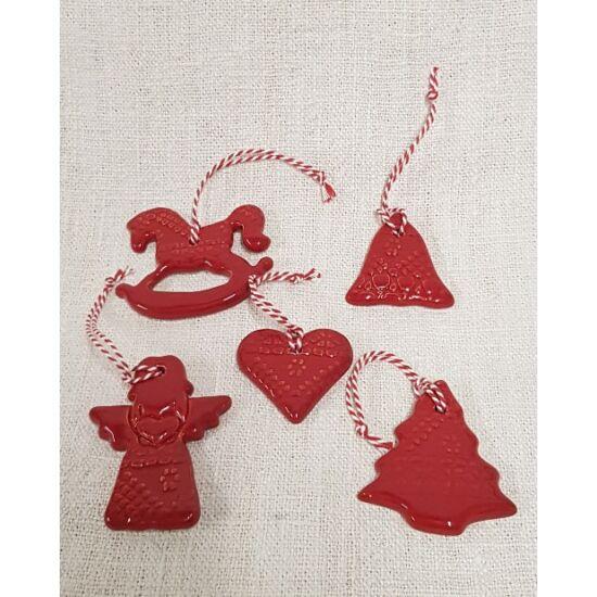 Öt darabos, piros, kerámia karácsonyfadísz-szett