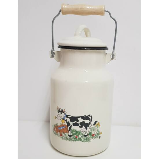 Zománcozott tehenes tejeskanna, 2 literes