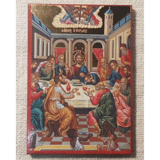 Utolsó vacsora szentkép fatáblán, 10 cm