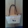 Kép 4/6 - Kézműves női táska zsákvászonból – kékfestős madaras mintával